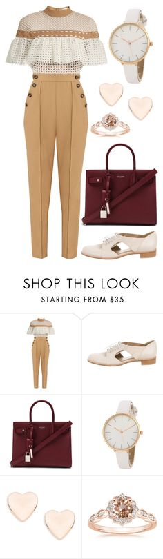 """Pulling a System"" by staysaneinsideinsanity ❤ liked on Polyvore featuring self-portrait, Stuart Weitzman, Yves Saint Laurent and Ted Baker"