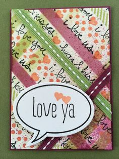 Glorious Greetings, Perfect Pennants, and Just Sayin' stamp sets by Stampin' Up! used on this card.  Also the Striped Decorative Mask.  ATC, Artist Trading Card by Beverly Stewart.