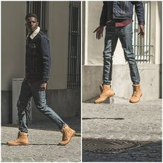 Get this look: http://lb.nu/look/7990636  More looks by Jon The Gold: http://lb.nu/jonthegold  Items in this look:  Levi's® Denim Jacket, Nudie Jeans, Palladium Boots   #edgy #retro #street #fashion #model #fashionblogger #palladium #modeling #menatwork