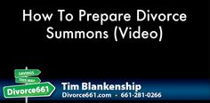 How To Prepare California Divorce Summons (Video)  When you file for divorce in California, there are at least 2 forms you will need.  The Petition and Summons.  We did a video on the Petition the other day.  This video is how to prepare the Summons when filing for divorce in California.