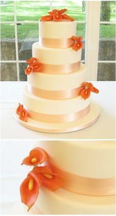 Beautiful Wedding Cake Orange Flowers