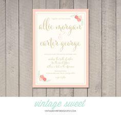 Wedding Invitation (Printable) DIY by Vintage Sweet by vintagesweetdesign on Etsy