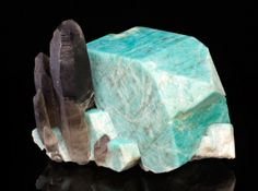 Microcline var. Amazonite with Quartz from Colorado  by Dan Weinrich