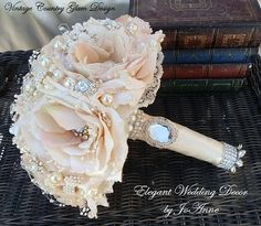 """VINTAGE COUNTRY GLAM- Elegant 11"""" Vintage Country Glam Bouquet, Stunning Design, Brooch Bouquet"""