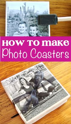 Photo Coasters - How to Make DIY Tile Photo Coaster! Photo Coasters - How to Make a DIY Tile Photo Coaster! These cute little crafts make such sweet gifts, and they're so EASY to make, too! Go check out the step-by-step instructions to make yours! Photo Tile Coasters, Picture Coasters, Homemade Coasters, Diy Coasters, Diy Decoupage Coasters, Making Coasters, How To Make Photo, How To Make Diy, Lists To Make
