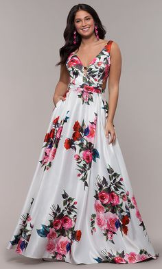 36422a46884 White A-Line Print Prom Dress with Side Cut Outs