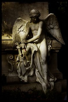 deviantART: More Like Cemetary statue by ~prudentia Cemetery Angels, Cemetery Statues, Cemetery Art, Angels Among Us, Angels And Demons, Statue Ange, St. Michael, Saint Michael, Sculpture Art
