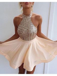 CHAMPAGNE HALTERED BACKLESS MINI LENGTH HOMECOMING DRESS 2016