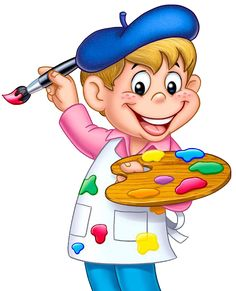 Cute boy cartoon painter paint box PNG and Clipart