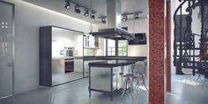 Кухня-гостиная Red&Black. Кухня