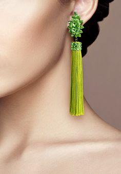 Zerlina Crystallized Green Fringe Earrings FC308 | Dancesport Fashion @ DanceShopper.com