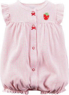 AmazonSmile: Carter's Baby Girls 1-piece Appliqué Snap-Up Romper (3 Months, Red Strawberry): Clothing