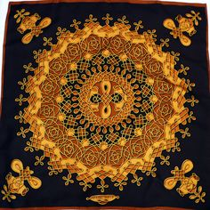 0167940beb8b Authentic Vintage Hermes Silk Scarf Vinci Chocolate Brown, Caramel and Gold