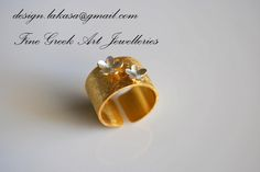 Ring sterling silver 925, gold plated. chevalie. flowers.