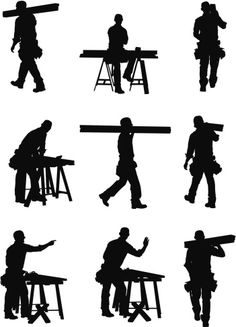 Vectores libres de derechos: Multiple images of a carpenter