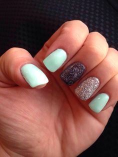 Gel nails! Mint green with grey and silver sparkle accent nail. Great for spring