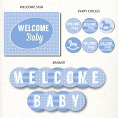 INSTANT DOWNLOAD Blue Rocking Horse Modern Boy Baby Shower Party Printable Kit | CatchMyParty.com
