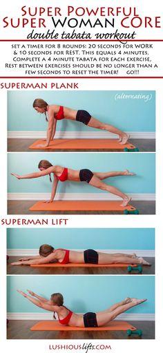 Super Powerful Super Woman Core {double tabata workout} || lushiousLIFTS.com