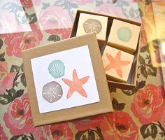 Beach Rubber Stamp Set - Sand Dollar Starfish Seashell - Hand Carved Wood…