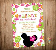 Minnie Mouse Luau Party Invitation Minnie Mouse by CutePartyFairy