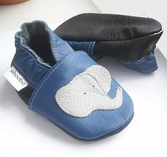 soft sole baby shoes chaussons Krabbelschuhe elephant blue 0 6