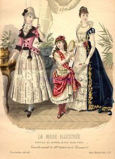 Fancy dress, 1888 France, La Mode Illustree    1780's Lady, gypsy girl, Empress Josephine
