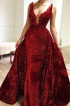 Burgundy Sequins Long V Neck Prom Dresses Lace Evening Dresses, SJS, This dress could be custom made, there are no extra cost to do custom size and color. V Neck Prom Dresses, Beaded Prom Dress, Lace Evening Dresses, Girls Dresses, Flower Girl Dresses, Dresses With Sleeves, Formal Dresses, Puffy Dresses, Ball Dresses