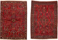 two Sarouk rugs  Central Persia  circa 1920  sizes approximately 3ft. 4in. x 5ft.