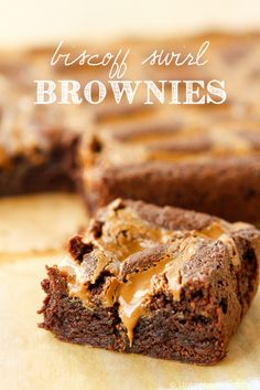Biscoff Brownies -- these luscious Biscoff Brownies were created by swirling Biscoff Spread into my favorite brownie batter for a new twist on an old classic!