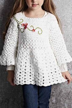 Crochet beautiful and delicate white tunic for a girl. Free and simple patterns for crochet white tunic for a little girl Crochet Baby Dress Free Pattern, Crochet Coat, Crochet Shirt, Crochet Clothes, Free Crochet, Crochet Patterns, Crochet Toddler, Crochet Girls, Crochet For Kids