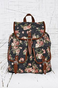 Floral Backpack in Black at Urban Outfitters