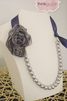 Pearl necklace with ribbon, decorated with pin. Interested in buying?  Please contact @ my_thequill@yahoo.gr