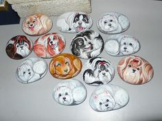 Rock painting Dog Group 0021 by lowadrian24, via Flickr