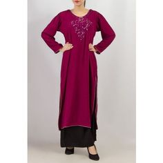 purple emb pakistani/indian designer stitched churidar/shalwar long kameez kurta