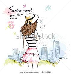 romantic girl - stock vector id 174790826