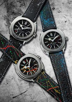 JeanRichard presents Graphiscope Collection, which comprises three limited edition Terrascope models, designed by the famous French graffiti artist Gully. Jean Richard, Famous French, Life Philosophy, Fine Watches, Accessories, Collection, Photography Branding, News, Graffiti