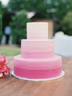 Ombre pink cake: http://www.stylemepretty.com/little-black-book-blog/2016/07/13/soap-opera-stars-wedding-better-than-any-daytime-tv-love-story/ | Photography: Sarah Kate - http://sarahkatephoto.com/