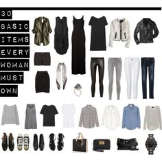 """30 Basic Items Every Woman Must Own"" by designismymuse on Polyvore 20 done. 10 to go. =D"