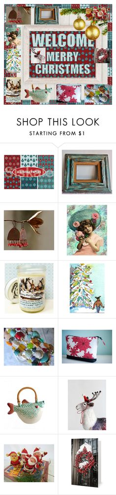 """""""Welcome Merry Christmas!"""" by rescuedofferings ❤ liked on Polyvore featuring interior, interiors, interior design, home, home decor, interior decorating, integrityTT, TintegrityT and EtsySpecialT"""