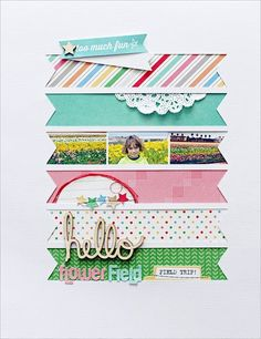Elle's Studio scrapbook layout with die cut background