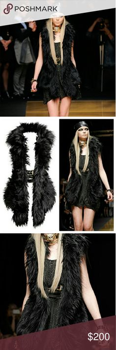 NWOT Versace x H&M Black Faux Fur Vest NWOT. Size 2. True to size XS. Too small for me :( Two buckles in front and one at back. Comes with hanger. By Versace for H&M. Sold out everywhere. Versace Jackets & Coats Vests