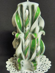 5.5 Inch Hand Carved Candle Green Fushia and by TwoLadiesAndBunny, $20.00 #etsymntt
