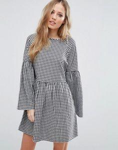 f3992acaced Vero Moda Gingham Smock Dress Платье Со Сборками С Завышенной Талией