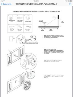 How to hang a dartboard and cabinet  http://www.shotdarts.com/media/wysiwyg/Pdfs/INSTRUCTIONS_WOODEN_CABINET_PUMADARTS.pdf