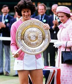 Virginia Wade holding Wimbledon Championships Singles Trophy, winner 1977