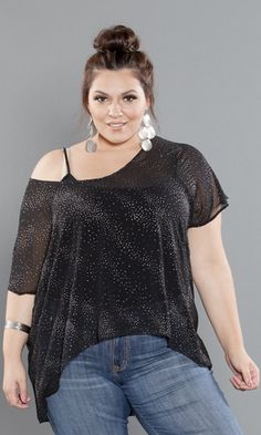 Sheer, sparkle, lace and so much more! Extra feminine details make this a plus size holiday top not to miss! Dress this top up with your favorite pair of skinny jeans or leggings and some cute boots for an ultra-chic look this fall.