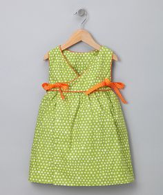 Green & White Dots Wrap Dress - Toddler on Zulily  Try to make with other wrap dress tutorials.