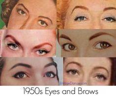 1950s makeup, 1950s Eyebrow shapes.  1950s makeup tutorial at vintagedancer.com/1950s/1950s-makeup/