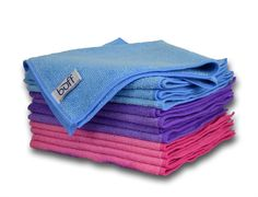 """Buff Pro Multi-Surface Microfiber Towel - 12 Pack   Premium Cleaning Cloths   Clean, Dust, Polish, Absorb   Large 16""""x16"""" Pink, Purple & Blue"""