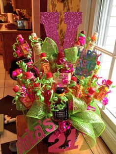 21st Birthday Bouquet Gift DIY Basket Candy